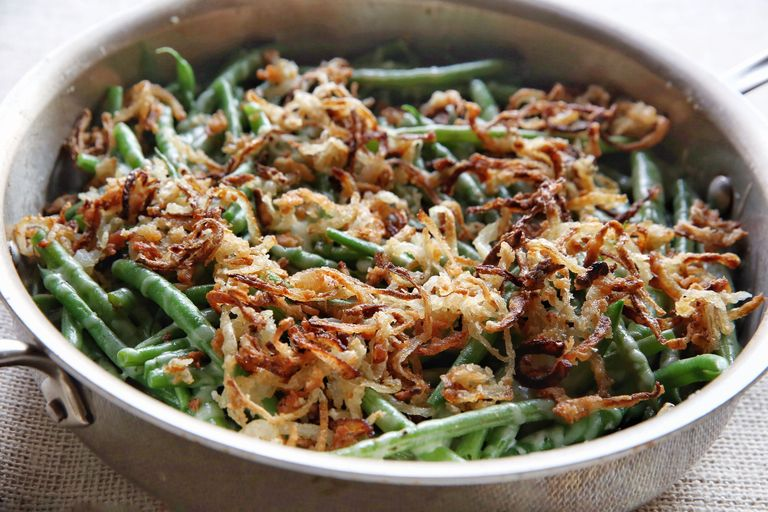 Garlicky Green Beans with Crispy Onions